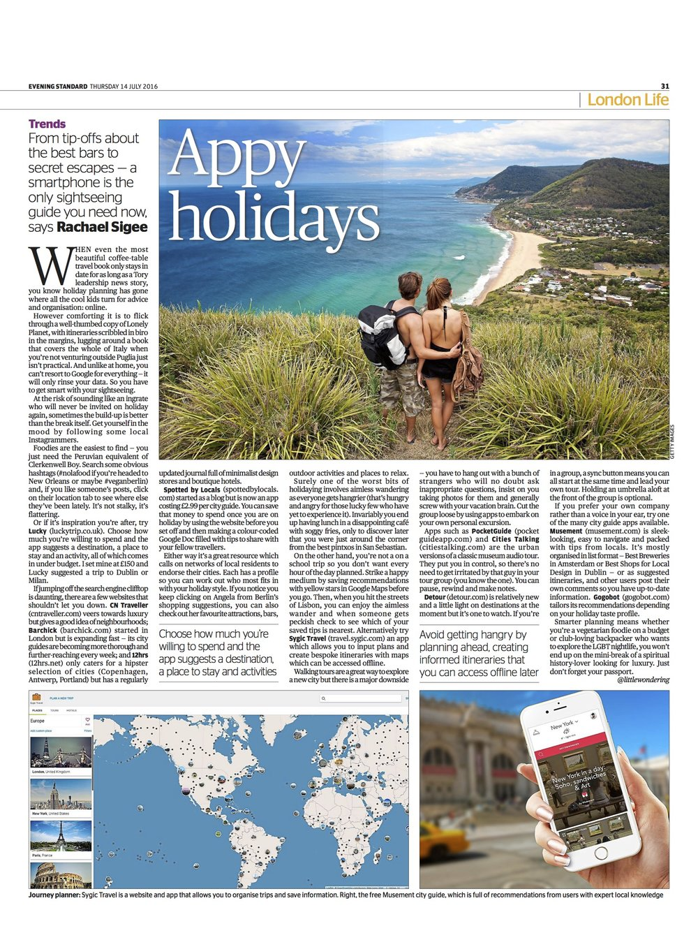 Feature on holiday and travel apps