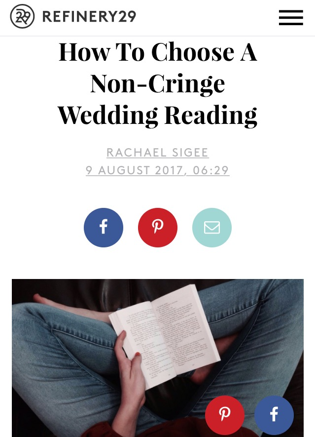 Feature choosing feminist wedding readings