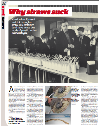 The i Paper feature on plastic drinking straws