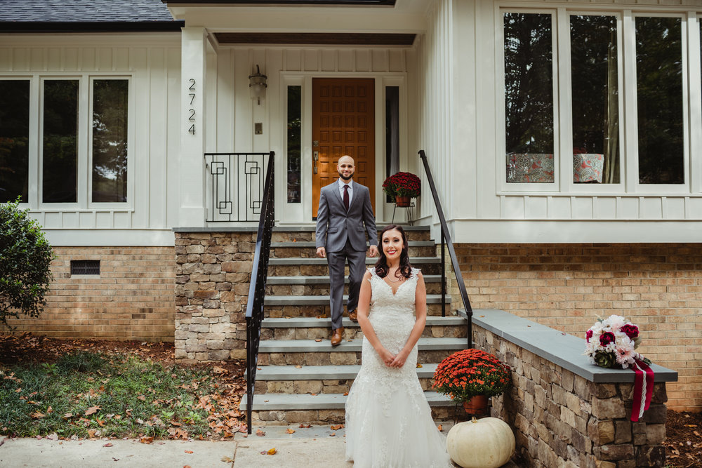 Raleigh wedding photography, first look, Martha and SId
