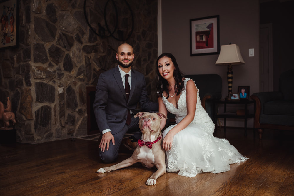 Raleigh wedding photography, dog, first look, Martha and Sid