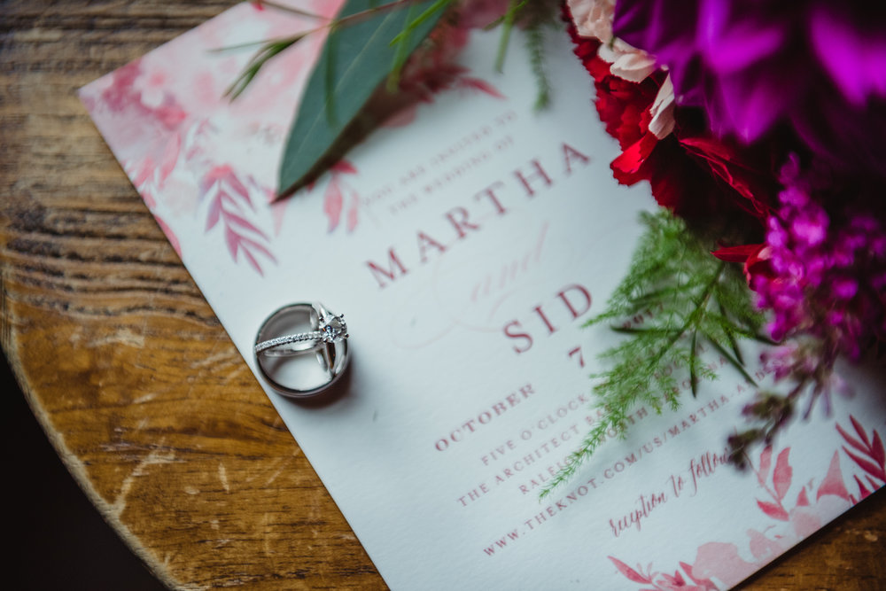 The Architect Bar and Social House, Raleigh Wedding Photography, wedding details, Martha and Sid