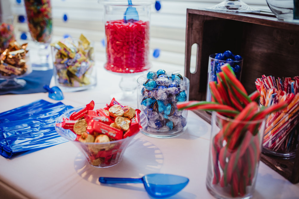 Noah's candy table at his bar mitzvah reception at Temple Beth Or had licorice, chocolate, and all sorts of blue candy.