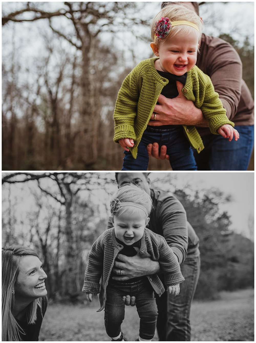 The baby laughs as her dad swings her in the air during their family photo shoot in Wake Forest, North Carolina.