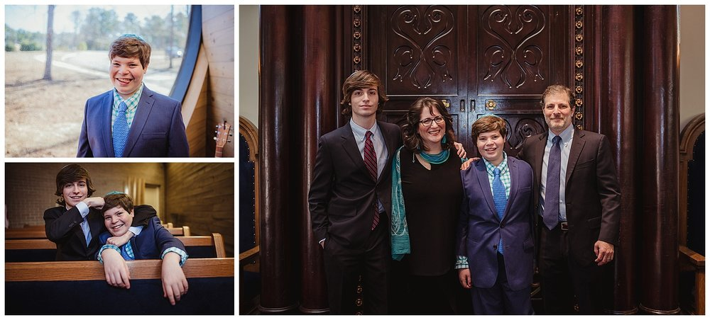 The family poses with the Bar Mitzvah boy at Temple Beth Or in Raleigh, NC for Rose Trail Images.