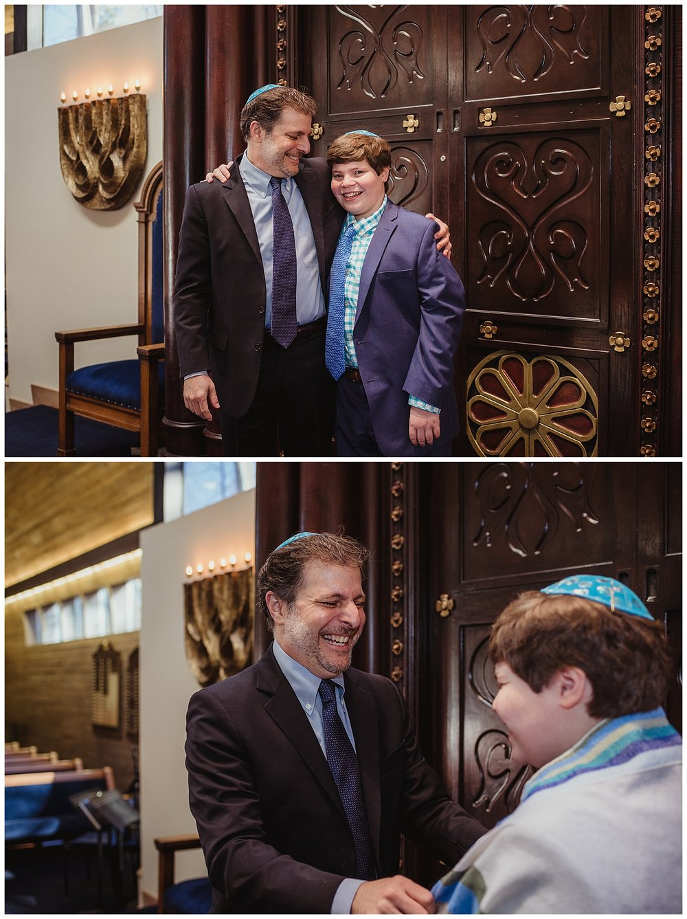 Dad poses with his son celebrating him becoming bar mitzvah at Temple Beth Or in Raleigh, NC.