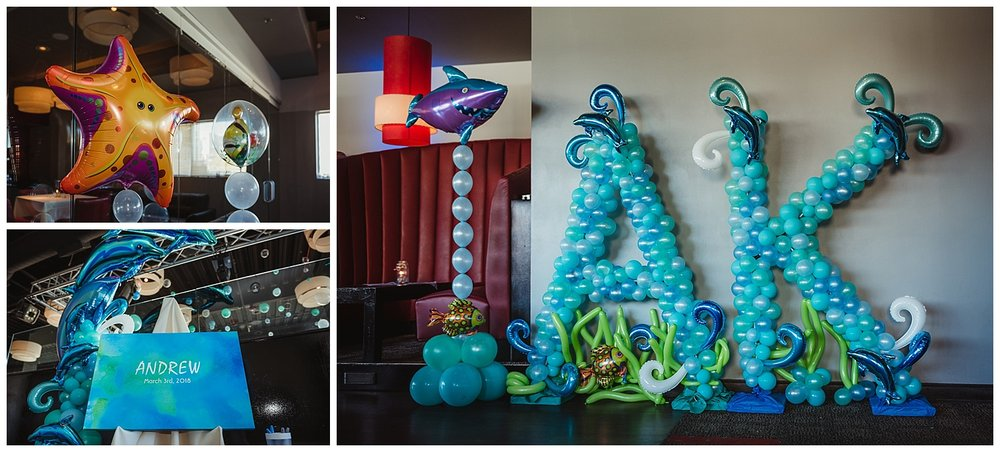 "Amazing Balloons decorated the entire space at Solas in an ""Under the Sea"" theme for Andrew's mitzvah celebration in Raleigh, NC."