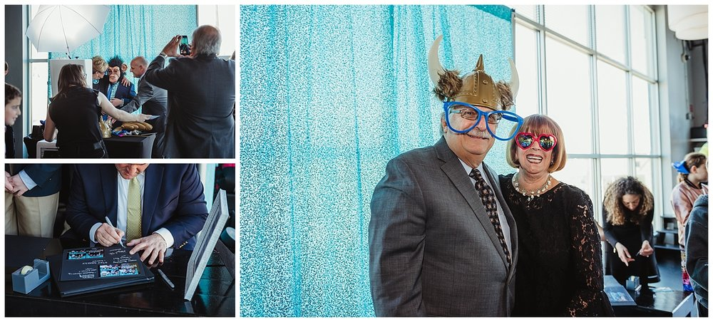 Friends and family pose for the photo booth during the mitzvah celebration at Solas nightclub in downtown Raleigh, NC.