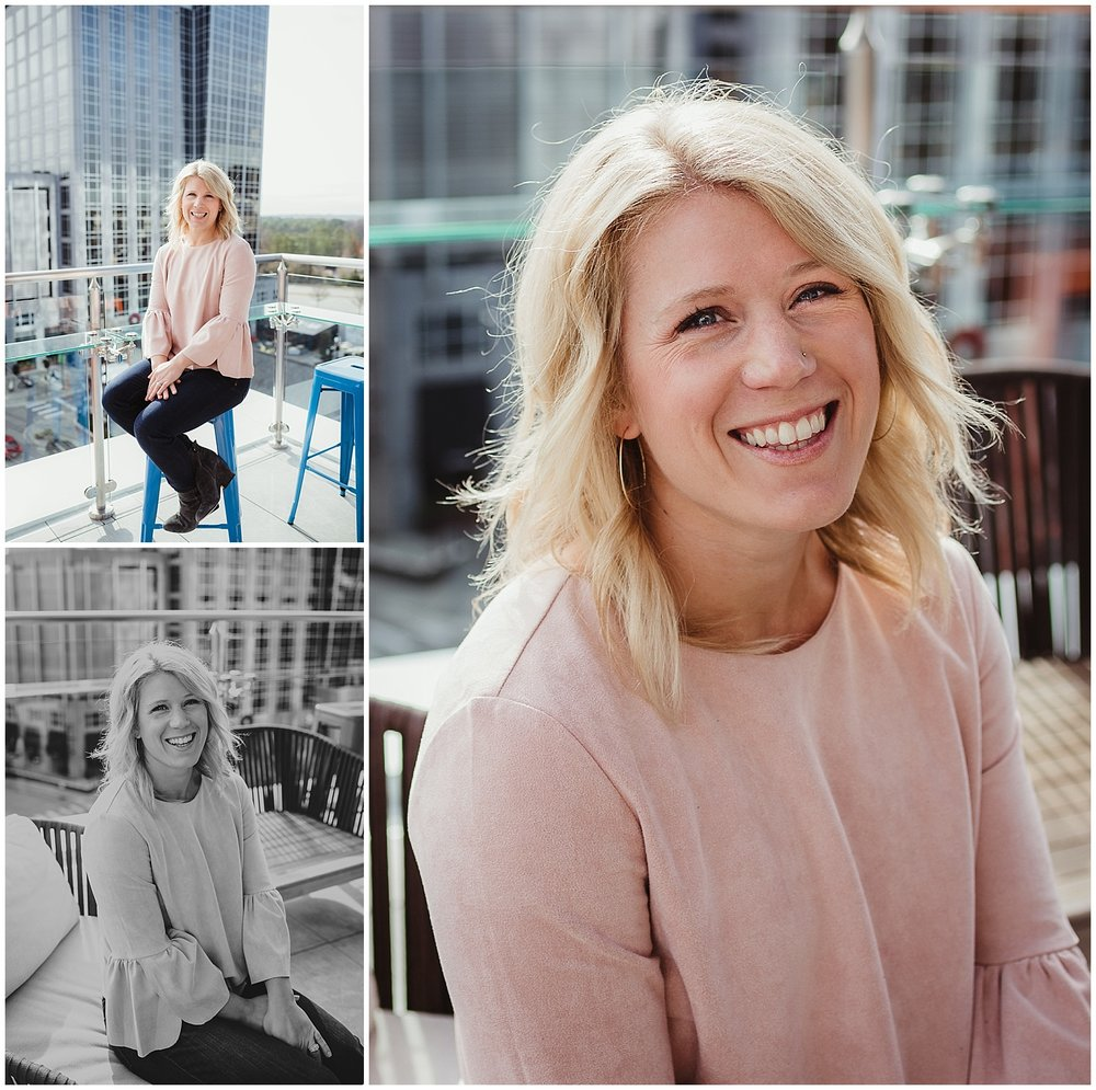 Liz from Metro's Other Woman sits for headshots outside with Rose Trail Images at Level7 Rooftop Bar in Raleigh, NC.