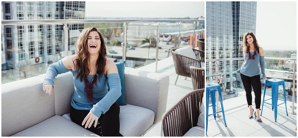 Sarah, owner of Metro's Other Woman, sits for headshots and branding photos with Rose Trail Images at Level7 Rooftop Bar in Raleigh, NC.