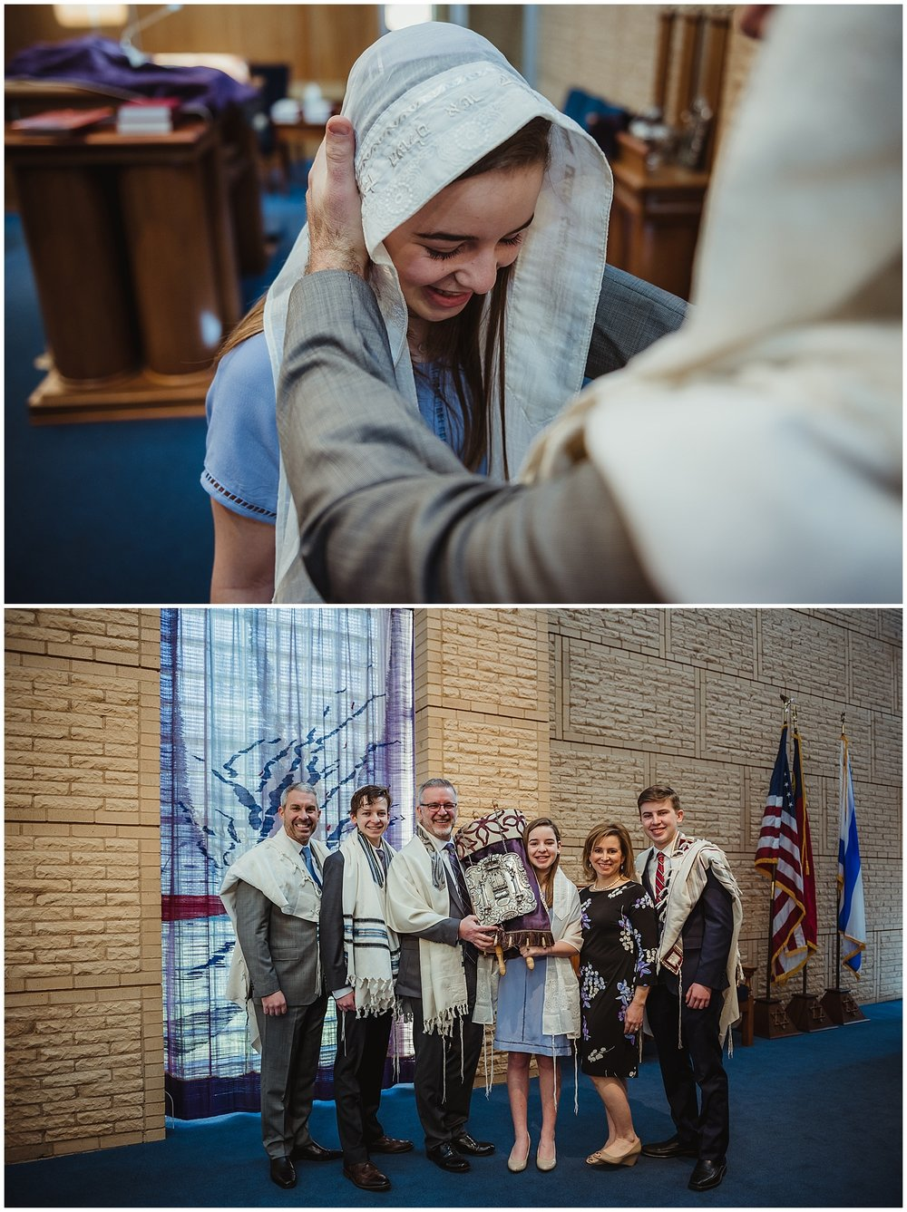 The rabbi gives his blessing while the family stands with the Torah in front of the ark at Beth Meyer Synagogue in Raleigh, NC.