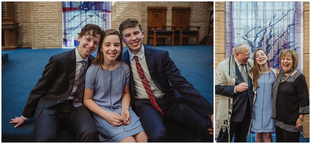 The Mitzvah girl poses with her siblings and grandparents for pictures with Rose Trail Images while on the bema at Beth Meyer Synagogue in Raleigh, NC.