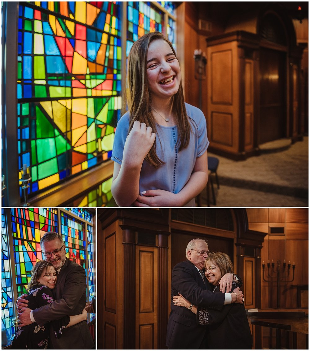 The Mitzvah girl and her family pose for pictures with Rose Trail Images in front of a very colorful stained glass window at Beth Meyer Synagogue in Raleigh, NC.