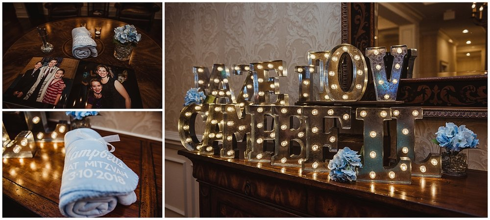 "The details at Campbell's mitzvah reception included candles, blankets, and marquee letters that spelled out ""mozal tov campbell"" at the Brier Creek Country Club in Raleigh, NC."