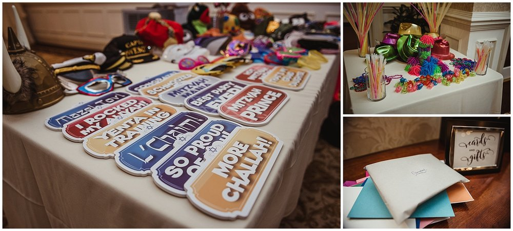 More details of the mitzvah reception include photobooth props, glow sticks, and the card table at the Brier Creek Country Club in Raleigh, NC.