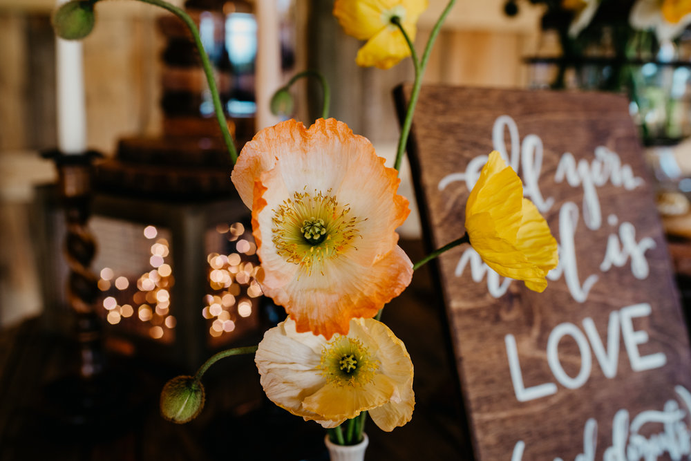 The rustic table decor at the reception is filled with candles and poppy flowers, taken by Rose Trail Images at Windy Hill Farm near Raleigh, NC.