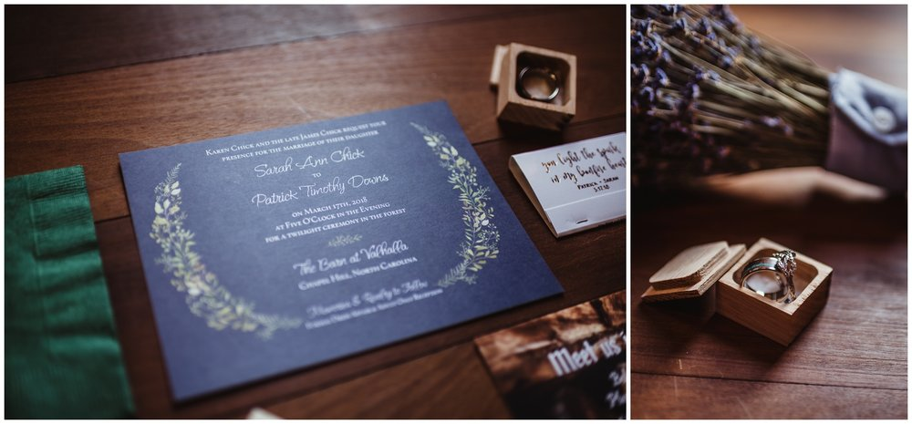 Wedding details such as the invitation, the wedding bands, the bridal bouquet, and other paper goods are photographed by Rose Trail Images at the Barn of Valhalla in Chapel Hill.