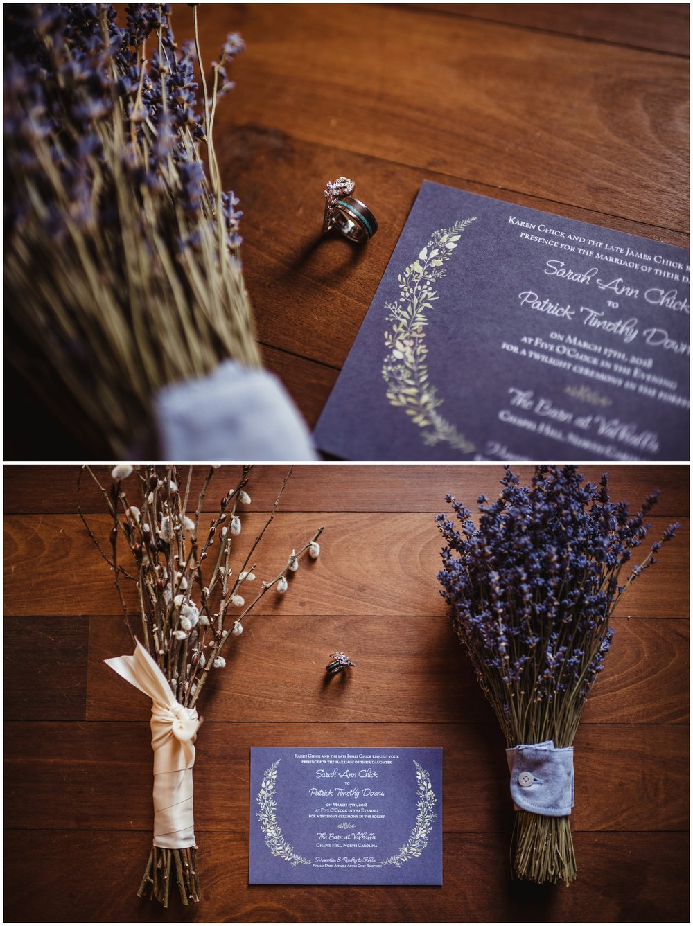 Wedding details such as the invitation, the wedding bands, the bridal bouquet, and a bridesmaid bouquet made of lavender and pussy willows are photographed by Rose Trail Images at the Barn of Valhalla in Chapel Hill.