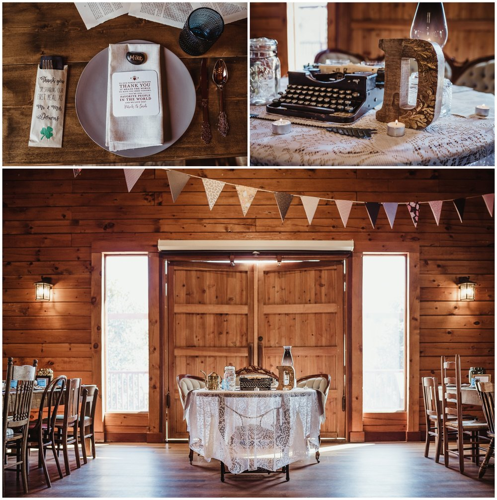 Wedding details, such as typewriters, candles, and place settings are photographed by Rose Trail Images at the Barn of Valhalla in Chapel Hill.