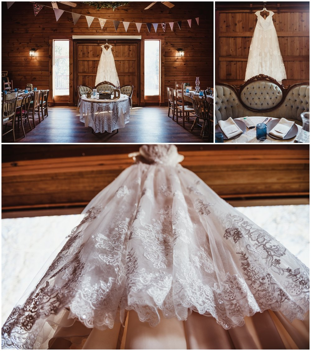 The wedding dress and it's beautiful lace details are photographed by Rose Trail Images at the Barn of Valhalla in Chapel Hill.