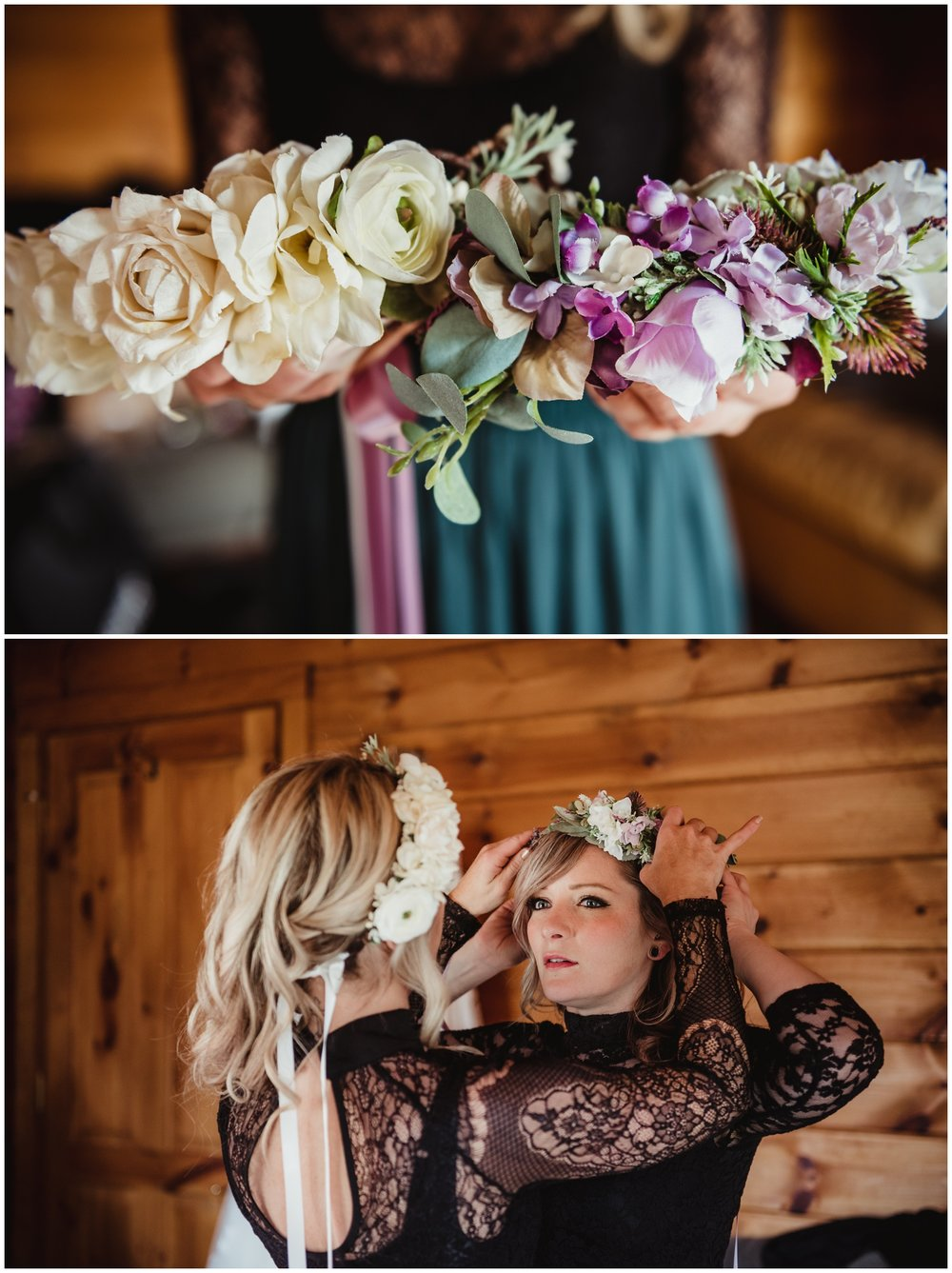The bridesmaids getting ready before the wedding day by helping each other put on their floral crowns at the Barn at Valhalla in Chapel Hill, taken by Rose Trail Images.