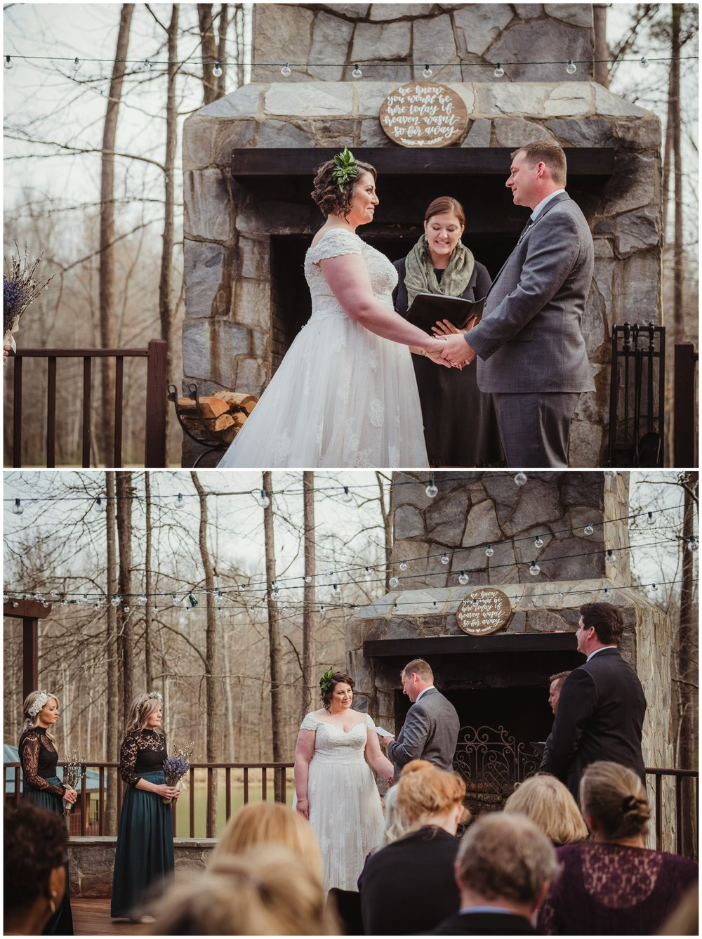 The bride and groom exchange vows on their wedding day at the Barn at Valhalla in Chapel Hill, taken by Rose Trail Images.