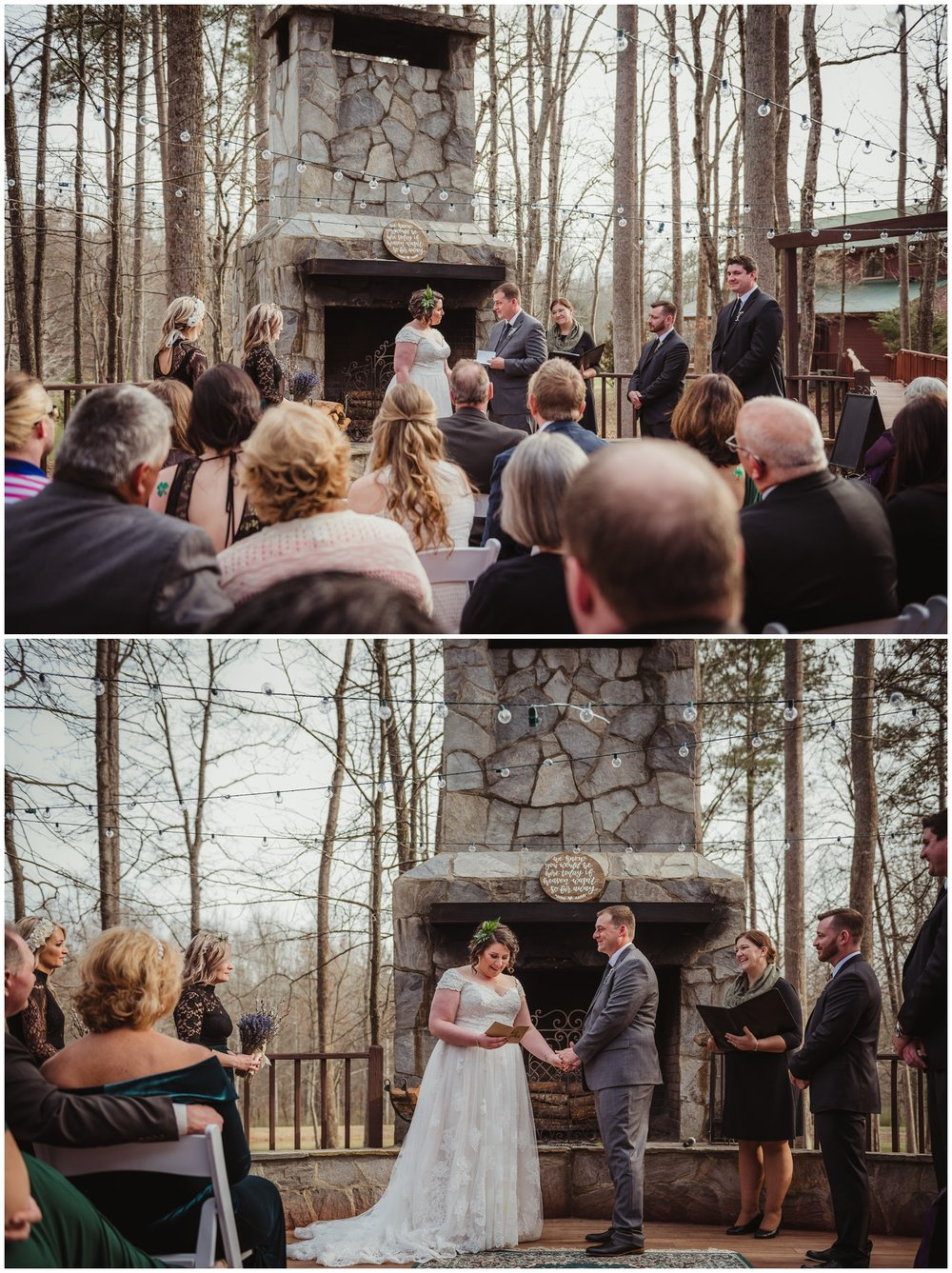 The bride and groom exchanging their vows on their wedding day at the Barn at Valhalla in Chapel Hill, taken by Rose Trail Images.