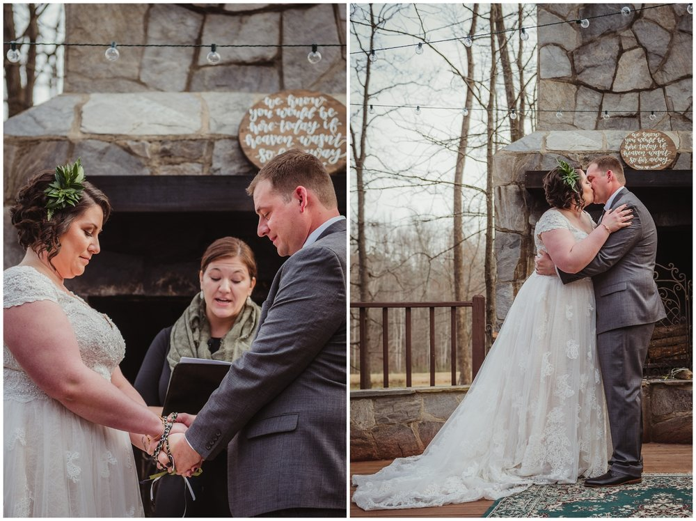 The bride and groom have a hand-fasting during their ceremony and share their first kiss on their wedding day at the Barn at Valhalla in Chapel Hill, taken by Rose Trail Images.