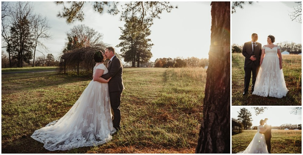The bride and groom pose for portraits at sunset on their wedding day at the Barn at Valhalla in Chapel Hill, taken by Rose Trail Images.