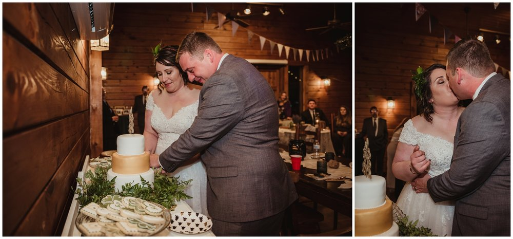 The bride and groom their cake on their wedding day at the Barn at Valhalla in Chapel Hill, taken by Rose Trail Images.