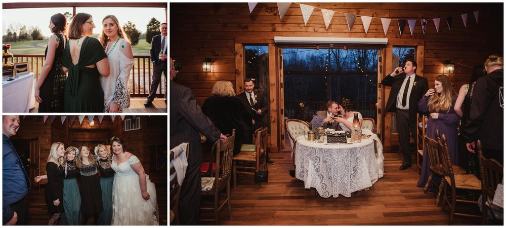 The bride and groom and all their friends and family gather together on their wedding day at the Barn at Valhalla in Chapel Hill, taken by Rose Trail Images.