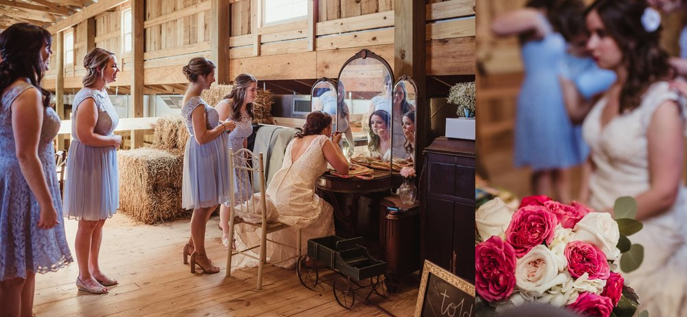 The bride gets ready at Carlee Farms in Oxford, NC with her bridesmaids looking on, taken by Rose Trail Images.