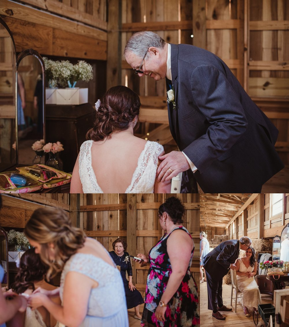 The brides parents see her dressed and ready for the first time at Carlee Farms in Oxford, NC, taken by Rose Trail Images.