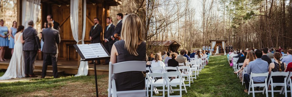 The wedding ceremony begins at Carlee Farms in Oxford, NC, images taken by Rose Trail Images.