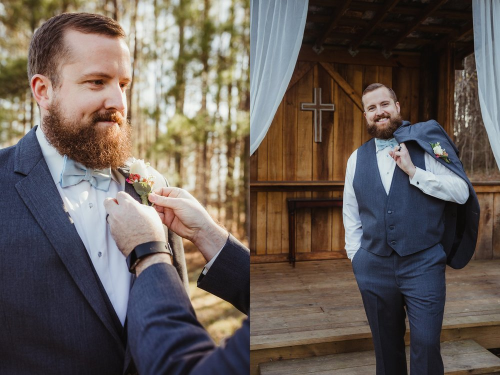 The groom taking pictures after the wedding ceremony with Rose Trail Images at Carlee Farms in Oxford, NC.