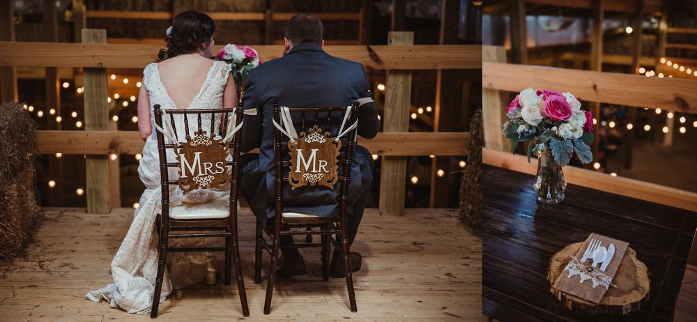 The bride and groom eat separately up in the loft during their wedding reception at Carlee Farm in Oxford, NC, taken by Rose Trail Images.