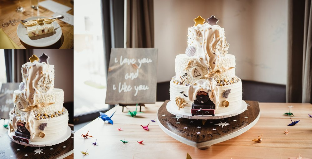 Wedding cake featuring the Hogwarts Express, the Ring, a golden snitch, the Millennium Falcon, and other Harry Potter, Star Wars, and Game of Thrones references was perfect for this Raleigh, NC wedding, pictures by Rose Trail Images.