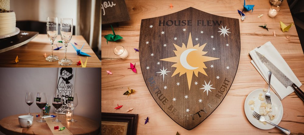 More Harry Potter and Game of Thrones references in their wedding decor in Raleigh NC, pictures by Rose Trail Images.