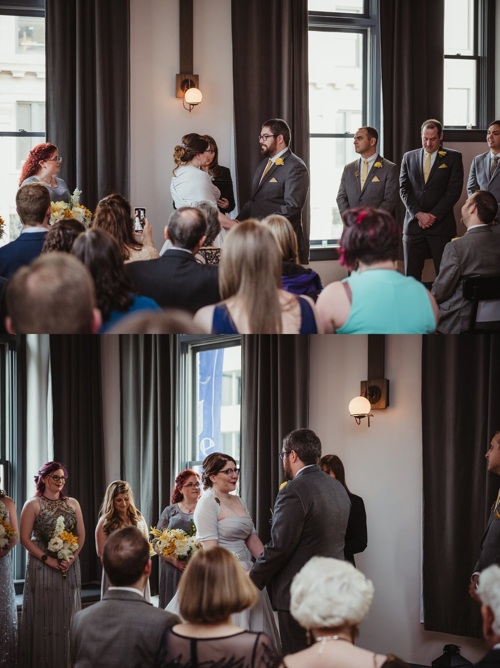 The bride and groom look at each other during their vows at their wedding ceremony at The Bridge Club in Raleigh, NC, picture by Rose Trail Images.