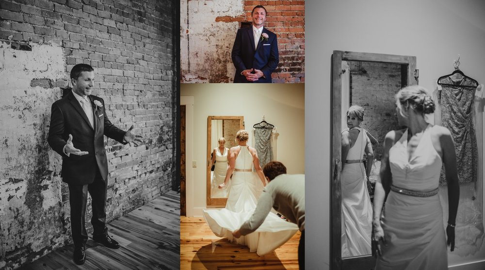 The bride and groom got ready separately before their wedding ceremony at Cross and Main, images taken by Rose Trail Images.