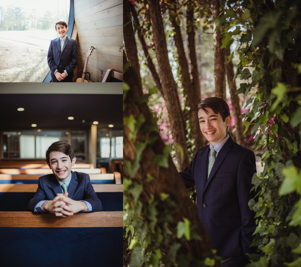 Adam, the bar mitzvah boy, posed with Rose Trail Images both outside and inside of Temple Beth Or in Raleigh, North Carolina.