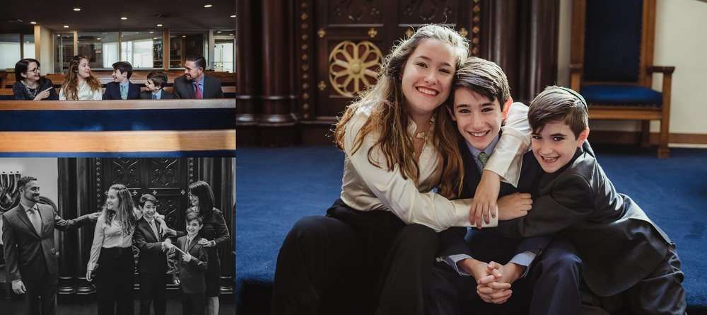 The mitzvah boy posed on the bema with his family and siblings for pictures with Rose Trail Images at Temple Beth Or in Raleigh, North Carolina.