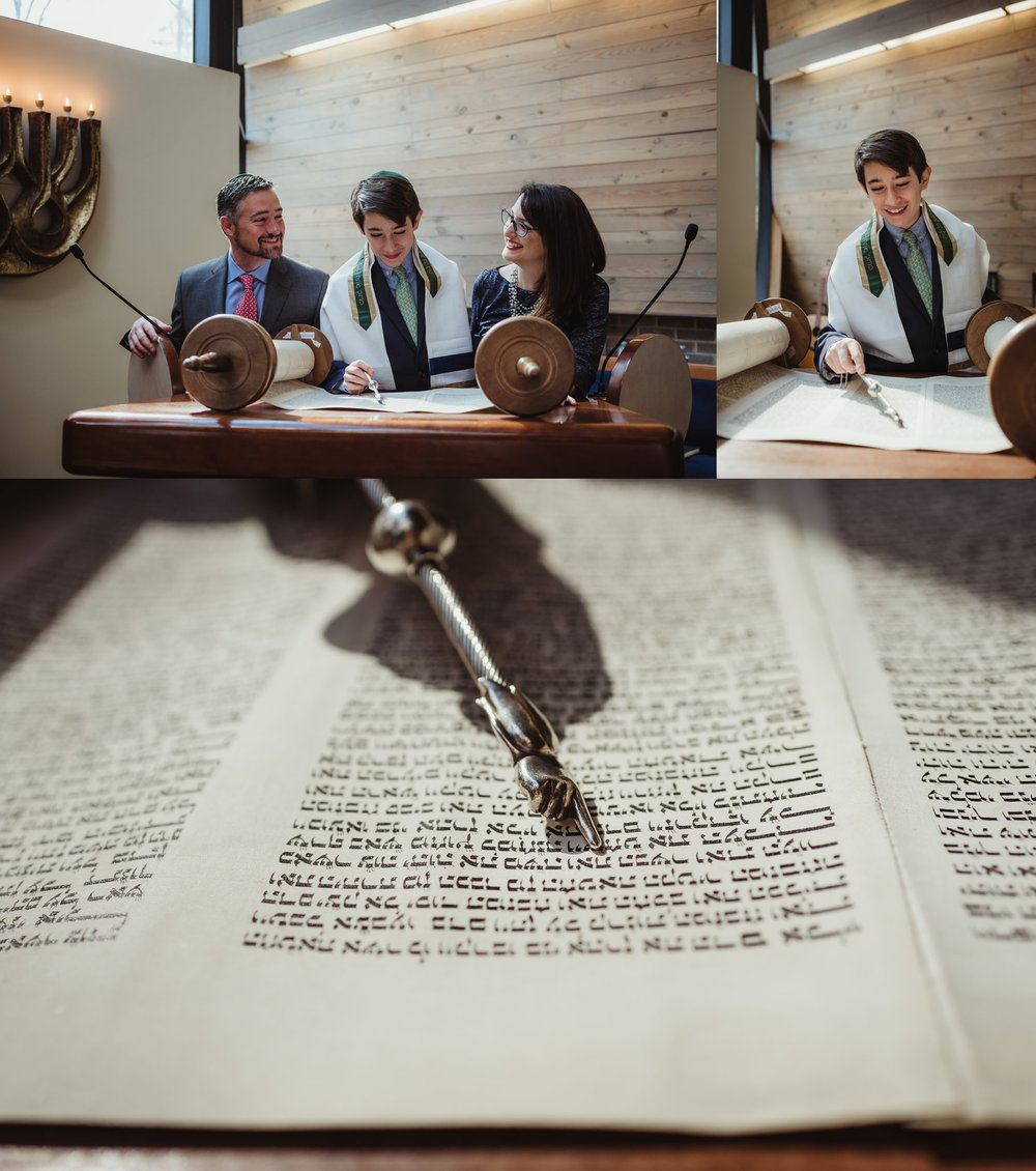 The mitzvah boy posed on the bema with the torah and his mom and dad for pictures with Rose Trail Images at Temple Beth Or in Raleigh, North Carolina.