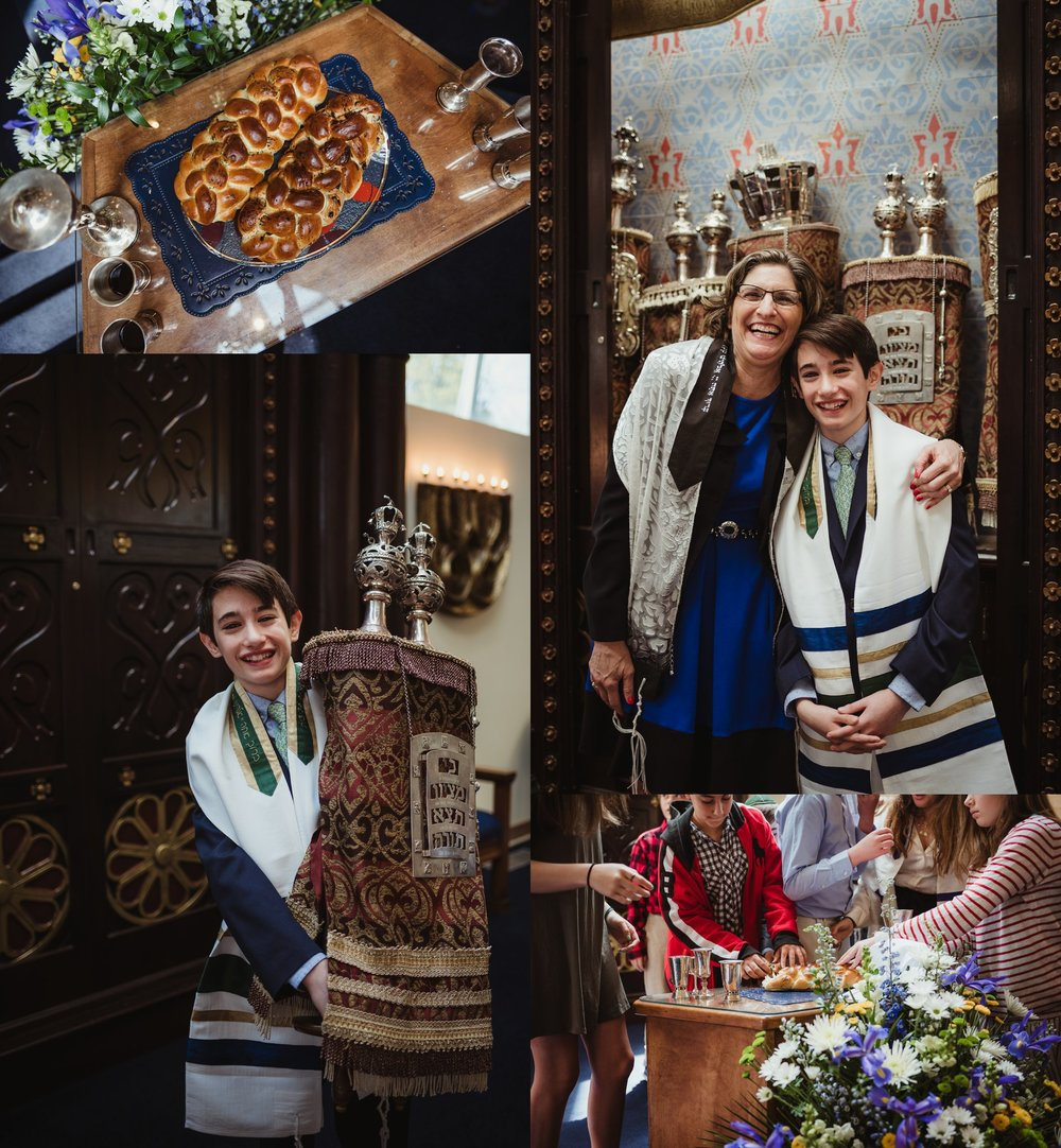 The mitzvah boy posed on the bema with the torah and the rabbi for pictures with Rose Trail Images at Temple Beth Or in Raleigh, North Carolina, as well as detail pictures of the challah bread.