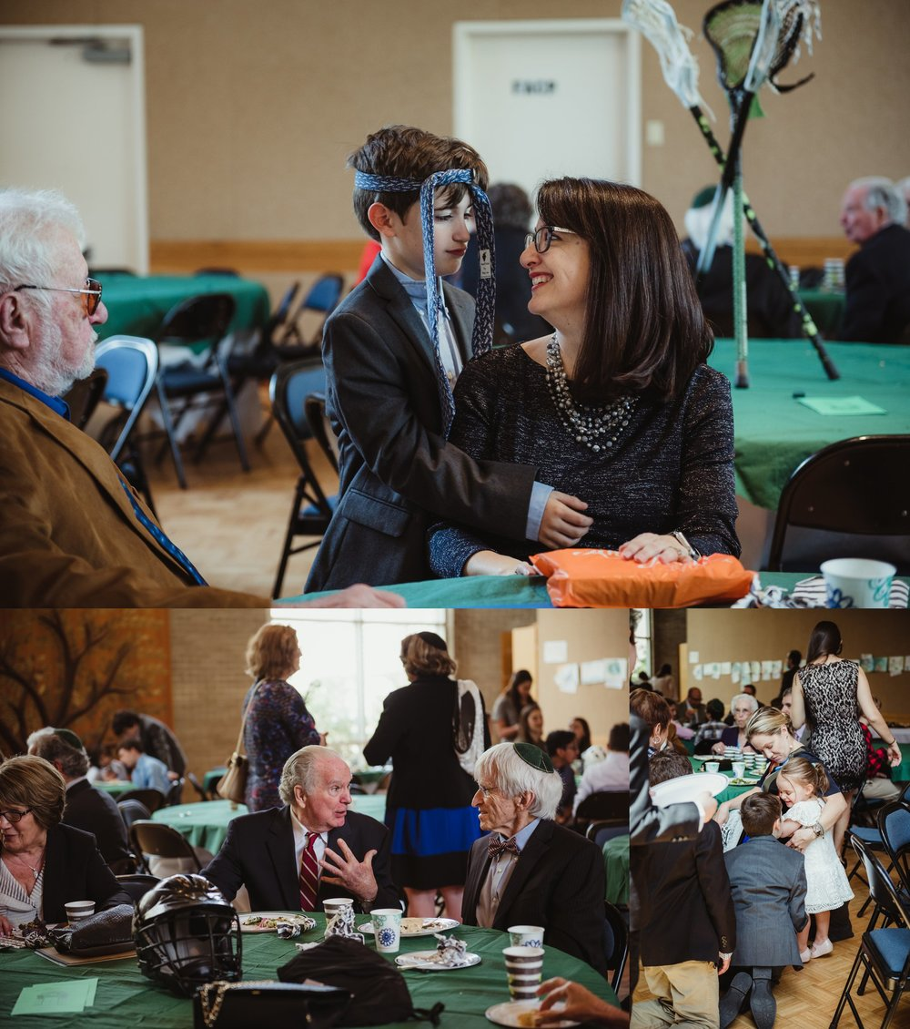 Guests having fun at the mitzvah kiddush and luncheon held at Temple Beth Or, pictures taken by Rose Trail Images.