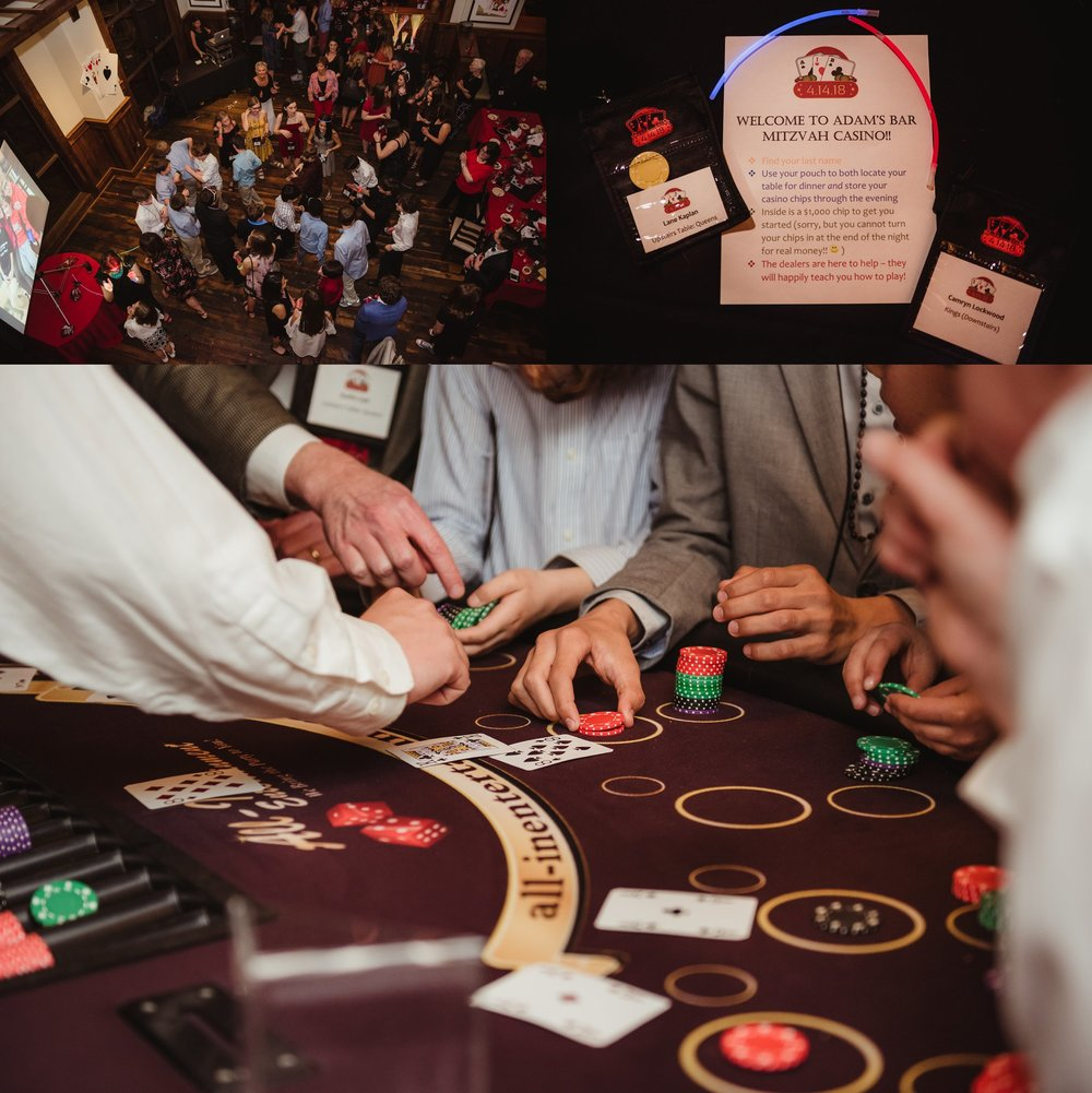 Guests dancing and playing blackjack at the casino themed mitzvah celebration at Mia Francesca of North Hills in Raleigh, North Carolina, pictures taken by Rose Trail Images.