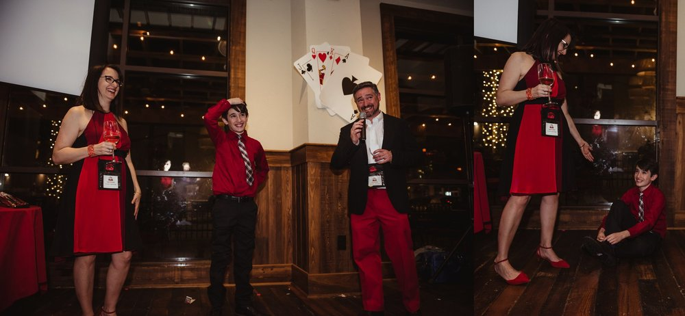 The parents giving their mitzvah boy a speech at his casino themed mitzvah celebration at Mia Francesca of North Hills in Raleigh, North Carolina, pictures taken by Rose Trail Images.