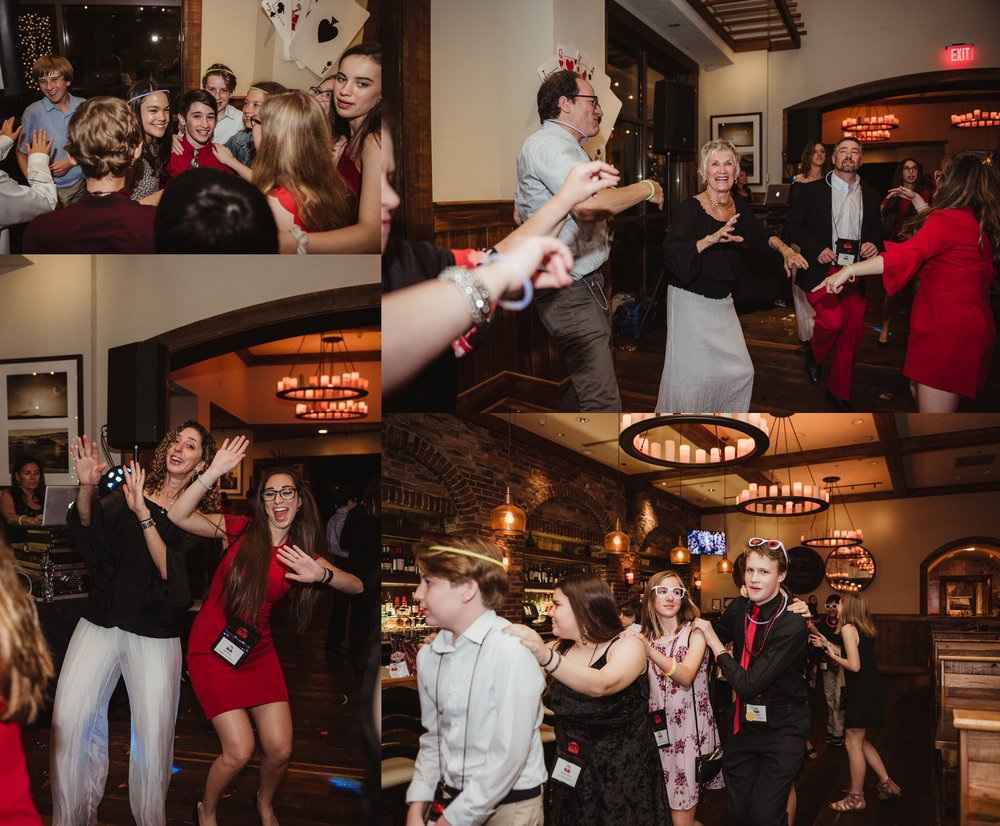 Guests and family dancing at the casino themed mitzvah celebration at Mia Francesca of North Hills in Raleigh, North Carolina, pictures taken by Rose Trail Images.