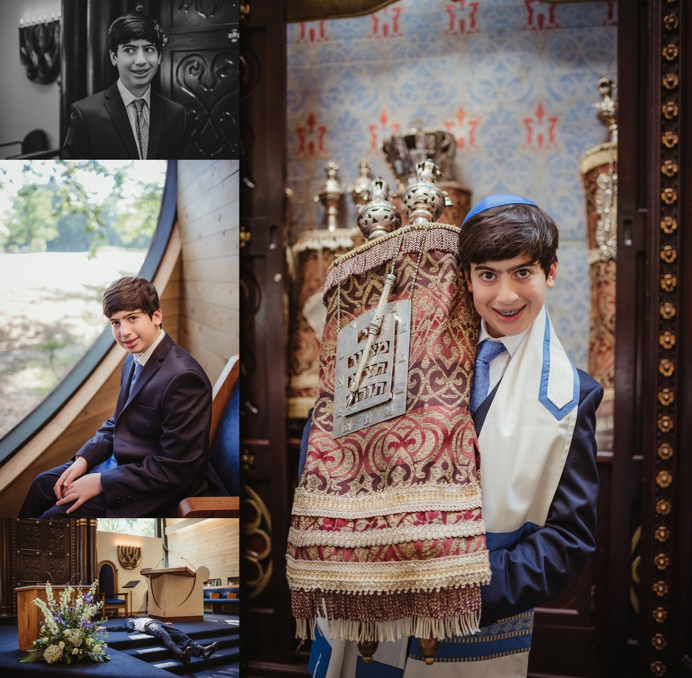 The bar mitzvah boy poses the Torah on the bima for Rose Trail Images before his ceremony at Temple Beth Or in Raleigh, North Carolina.