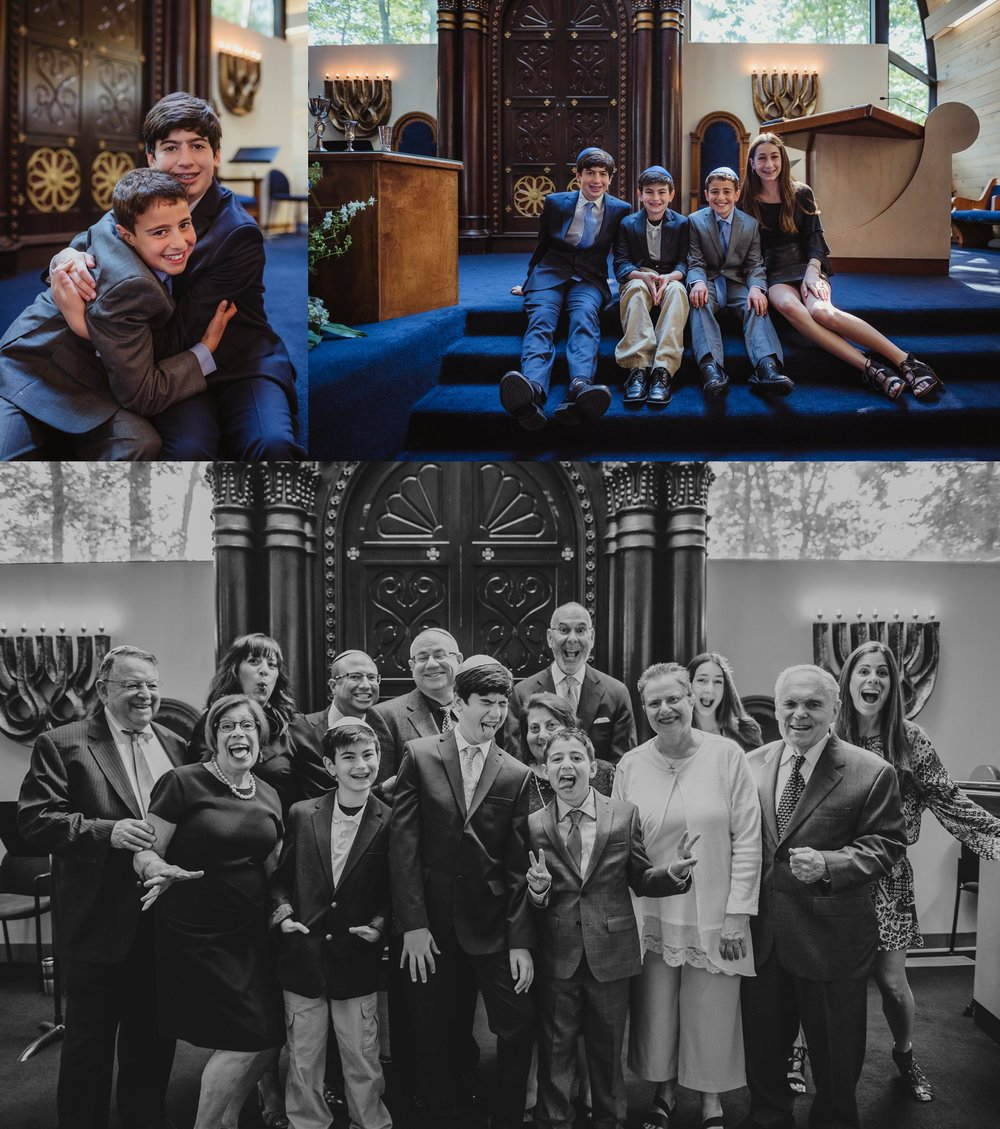 The bar mitzvah boy poses with his whole family on the bimah for Rose Trail Images before his ceremony at Temple Beth Or in Raleigh, North Carolina.